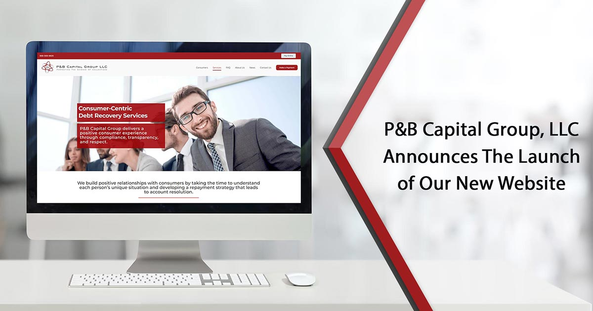 Launch of our new website P&B Capital Group, LLC and homepage displaying on the desktop screen
