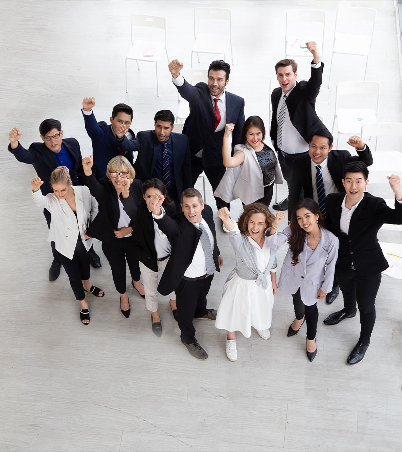Excited office workers group photo